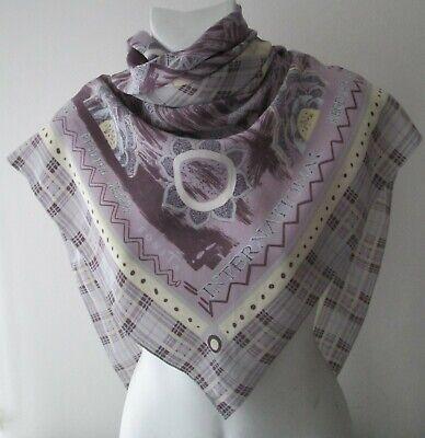 "Bellissimo Vintage Bonita ""tartan/con Motivo"" Seta Foulard/sciarpa (8824x)-ned' Silk Foulard/scarf (8824x) It-it Mostra Il Titolo Originale"