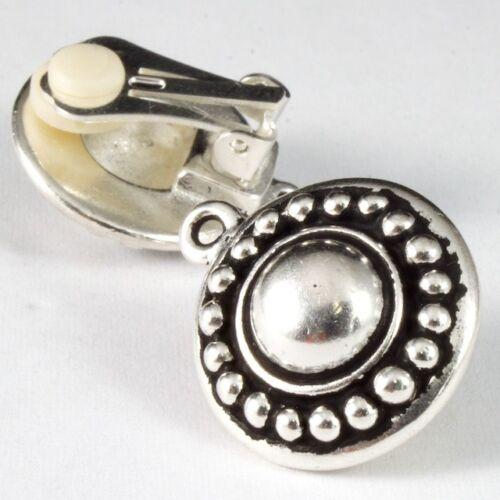 16mm Antique Silver TierraCast Pewter Beaded Ear Clip #CK094