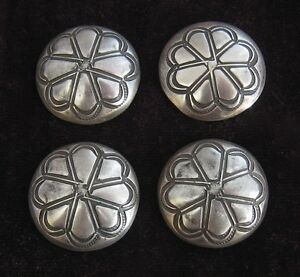 (4) SILVER 1 STAMPED BUTTONS/CONCHOS #915