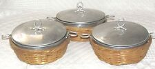 Vintage Child's Aluminum Pans with Lids in Woven Baskets ~3~Made in Japan~UNIQUE