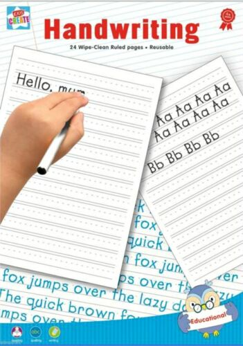 Learn Handwriting A4 Paper 24pg Wipe Clean Ruled Reusable Writing Practise Pad