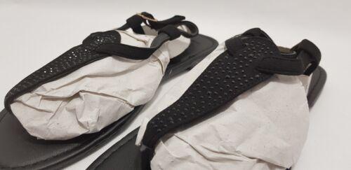 UK 6 E wide fit Semelle Diva Noir plat orné de sequins Sandales