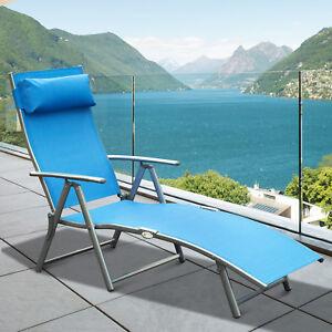 Reclining Chair Sun Lounger Tri-Fold Adjustable Garden Blue