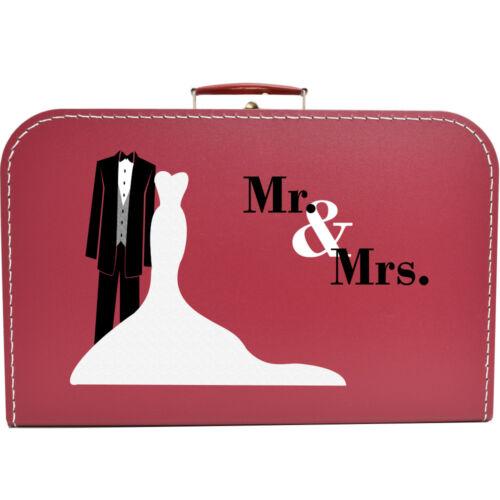 Hochzeitskoffer 40 cm Mr /& Mrs Frack Pappkoffer