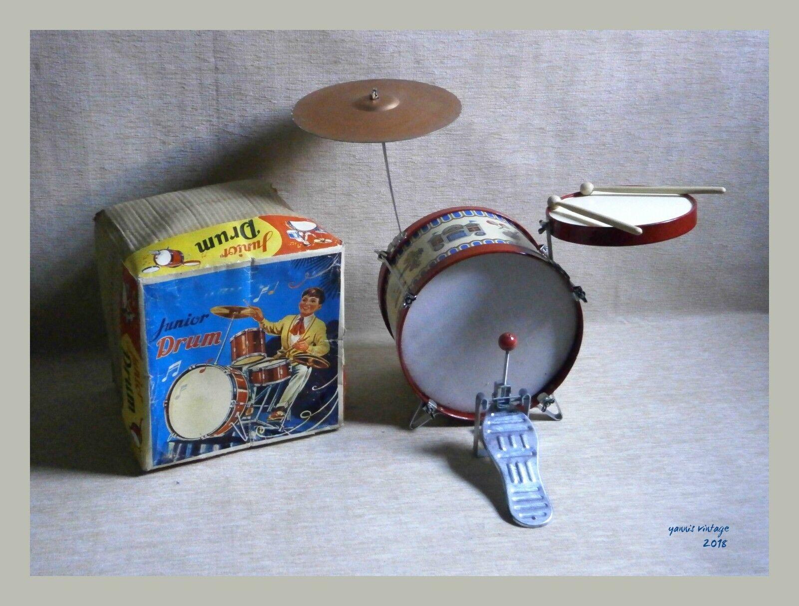Junior Drum   NIB LITHOGRAPHED TIN TOY VTG RARE