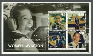 Guyana 2013 Femmes Dans L'aviation Avion Feuille Neuf Sans Charnière-afficher Le Titre D'origine