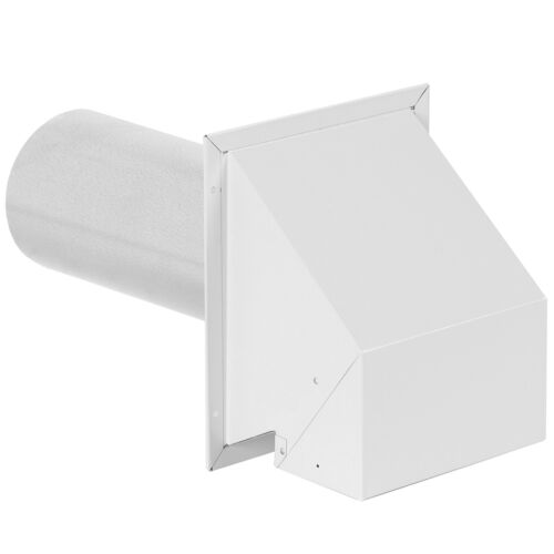 """4/"""" White Metal R2 Outside Wall Exhaust Dryer-Vent Range-Hood Bathroom-Fan Damper"""