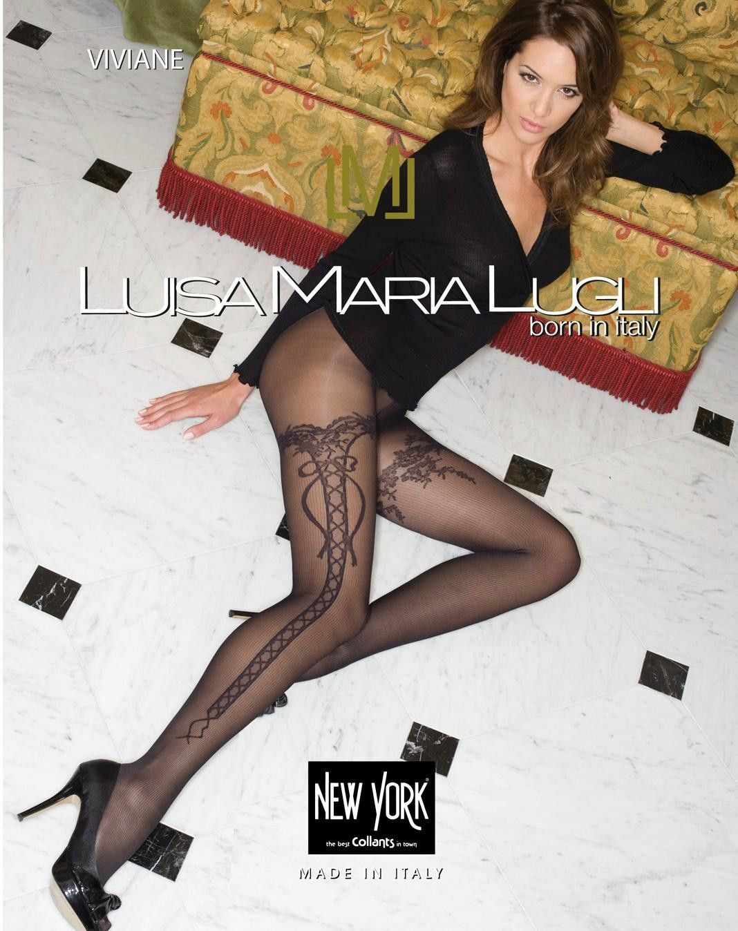 Luisa Maria Lugli Viviane 40 Den Pantyhose Beautiful Design White Cream Size M