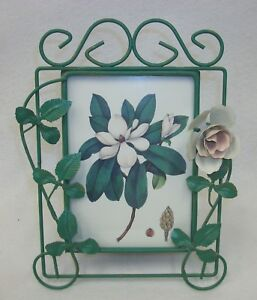 Lovely-Metal-Tole-Painted-Vines-amp-Flower-Self-Standing-Picture-Photo-Frame
