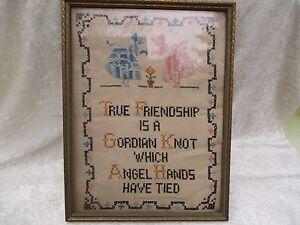 Vintage-Cross-Stitch-Linen-Friendship-Angel-Framed-Sampler