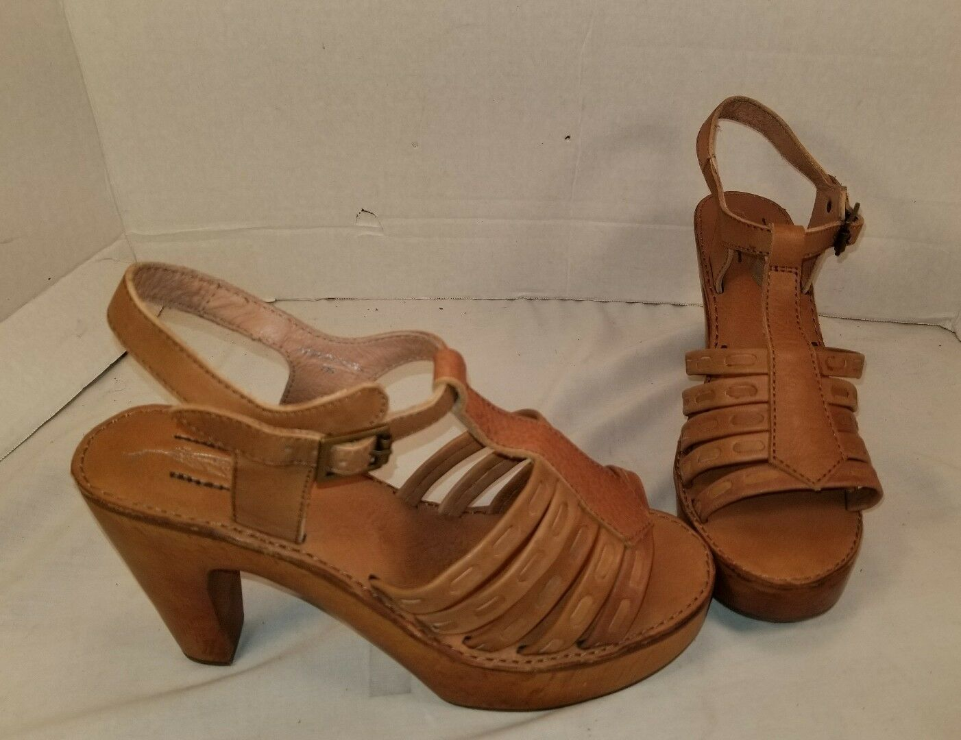 NEW FREE PEOPLE X JEFFREY CAMPBELL HAVEN TAN LEATHER CLOGS SHOES US 7