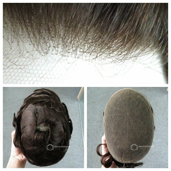 Natural French Lace Hair Replacement System Hairpiece For Men Unit