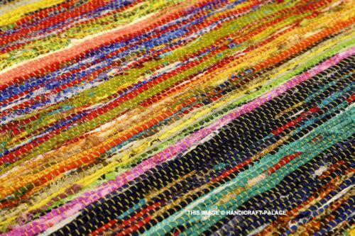 Indian Rag Rug Dari Chindi Throw Woven Handmade Vintage Cotton Floor Yoga Mat