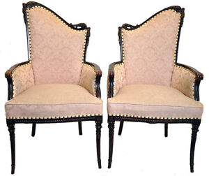 Image Is Loading Vintage Pair Of Hollywood Regency Fireside Chairs Great