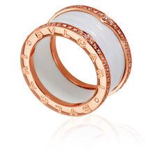 item 6 bvlgari bzero1 18k pink gold and white ceramic 4band diamond pave ring size 7 bvlgari bzero1 18k pink gold and white ceramic 4band diamond pave