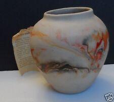 "Nemadji American Art Pottery Large Size Vase Planter Gray Orange 7 1/2"" Tall"