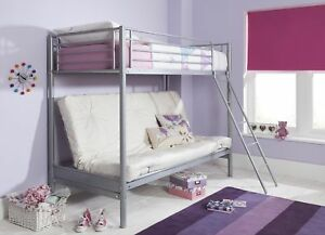 New Mika Metal Single High Sleeper Small Double Futon Bunk Bed Frame Ony 5051622908255 Ebay