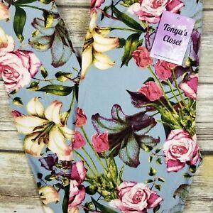 0a3fd8ec47f47 PLUS Rose Tulip Lilies Floral Leggings Baby Blue Base Buttery Soft ...