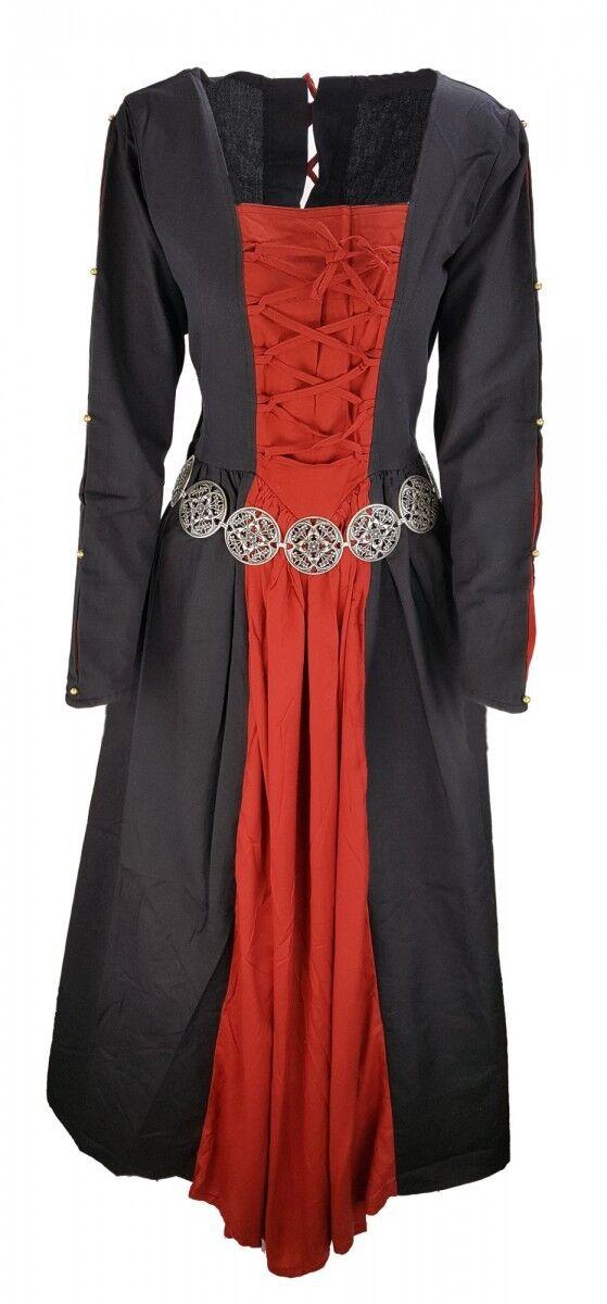 Mittelalter Gothic Kleid mit Perlen und Schnürung schwarz multi 36 38 40 42 44
