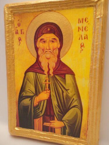 Saint Menelaus Menelaos Rare Greek Orthodox Religious Icon Art on Real Wood