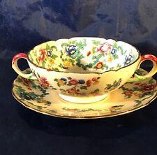 Royal Cauldon VICTORIA V7173 Cream Soup Bowl & Saucer - England