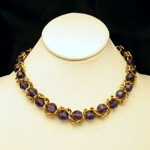 NOLAN-MILLER-Vintage-Purple-Crystal-Beads-Necklace-Caged-Braided-Chain