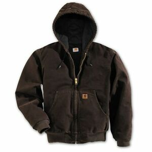Carhartt J130 Flannel Lined Sandstone Active Jacket Dark