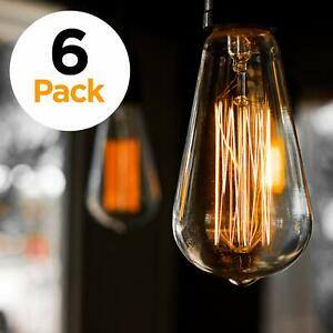 Details About 6 Pack Edison Light Bulb Antique Vintage Style Amber Warm Dimmable