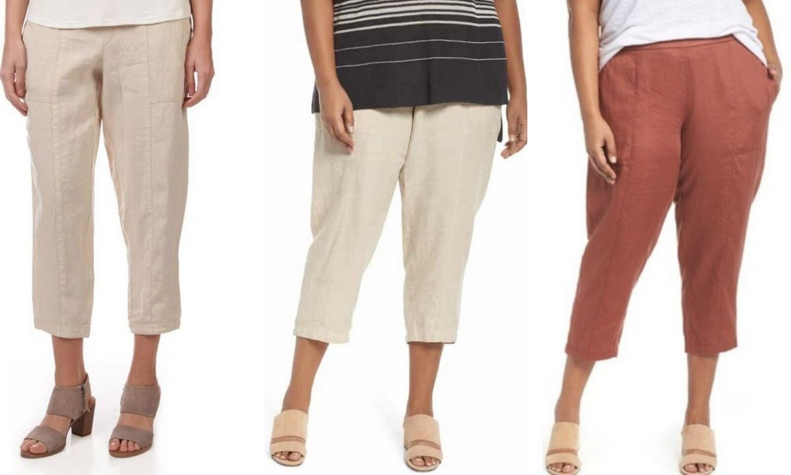 Eileen Fisher non teint lin naturel Cheville Cropped Pants Plus Taille 1X, 2X, 3X