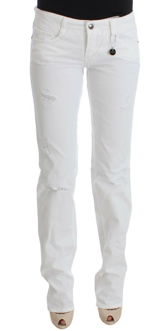 NEW  280 CoSTUME NATIONAL C'N'C Jeans Pants White Cotton Slim Fit Bootcut s. W29