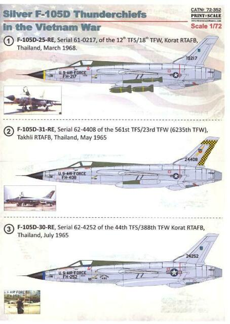 Print Scale Decals 1/72 REPUBLIC F-105 THUNDERCHIEF Silver Aircraft in Vietnam