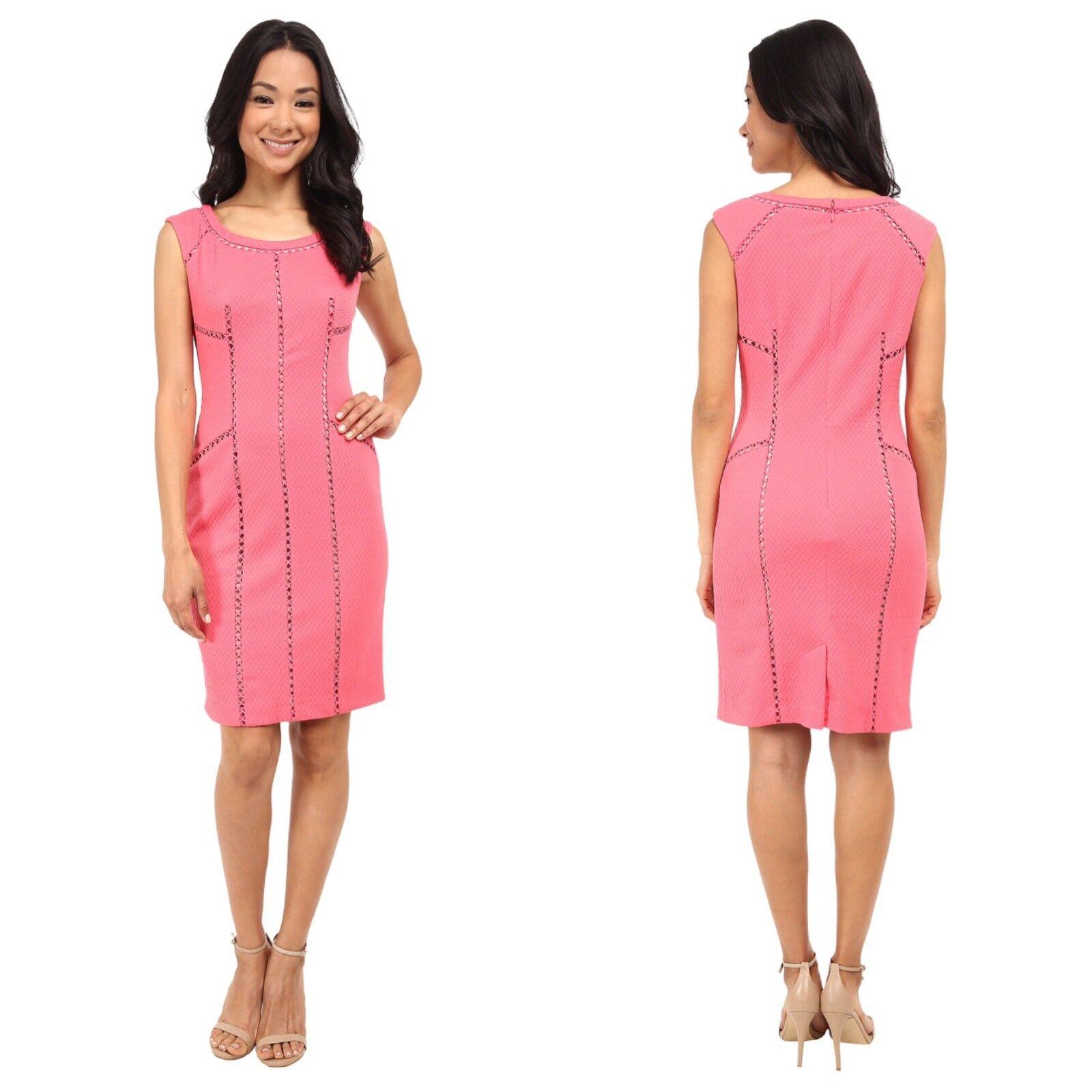 Adrianna Papell Womens Size 2 Sleeveless Splice Trim Sheath Career Dress In Pink