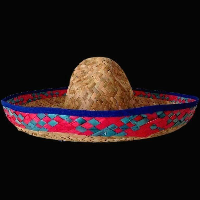 Mexican Sombrero Straw Hat Spanish Fiesta Party Costume Rainbow