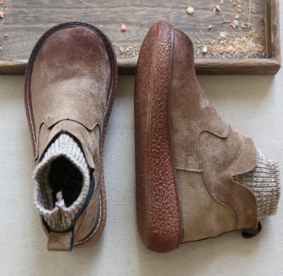 Mujeres Vintage Tacón Bajo Punta rojoonda Confort de punto Calcetines Calcetines Calcetines de Tobillo botas zapatos Hot G443  Precio al por mayor y calidad confiable.