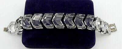 Art Déco Sterling Silber Verschluss/kette & Transparentes Glas / Onyx Eine Hohe Bewunderung Gewinnen