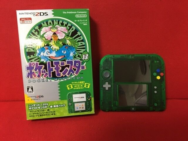 USED Nintendo 2DS Pokemon Green Edition Limited Pack F/S From Japan