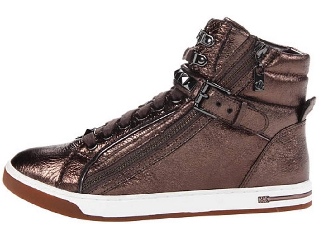 Womens Shoes Michael Kors GLAM STUDDED HIGH TOP Fashion Sneakers Gunmetal