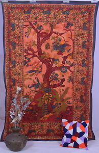 ORANGE-INDIAN-TWIN-TREE-of-LIFE-BEDSPREAD-WALL-HANGING-TAPESTRY-Ethnic-Decor-Art