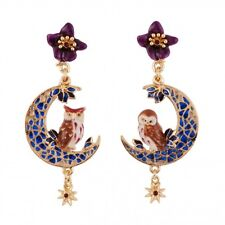 Les Nereides COUPLE OF EAGLE OWLS ON STAINED-GLASS STYLE MOON EARRINGS