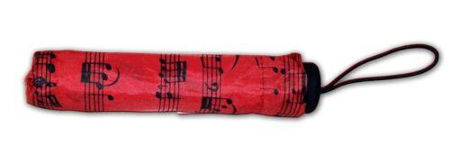 REGENSCHIRM ø98cm ROT mit Noten 25-57cm Taschenschirm Schirm 1014T