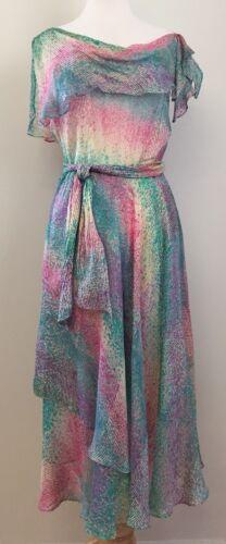 Vintage 70s THE SILK FARM Mermaid Float Dress 100%