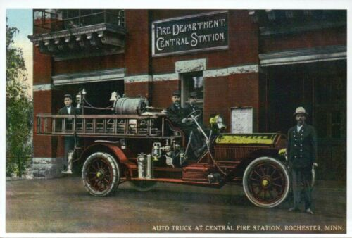 Central Fire Station and Truck Rochester Minnesota Engine MN Modern Postcard