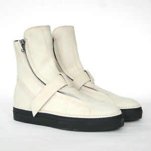 ANN-DEMEULEMEESTER-off-white-suede-leather-strap-sneakers-zipper-shoes-39-NEW