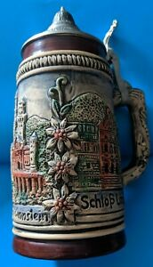 R-Bay-handpainted-handarbeit-beer-stein-made-in-Germany-ceramic-approx-7-034-tall