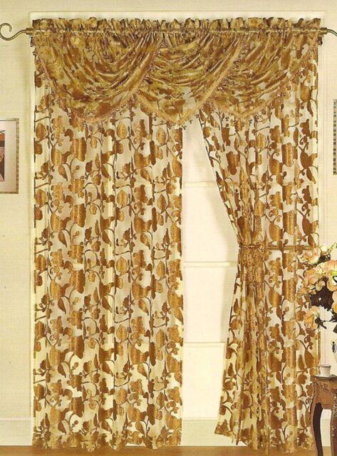 Luxurious LANA  WINDOW TREATMENT,floral sheer window curtain: Panel or valance,