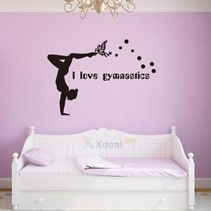 i love gymnastics dancing butterfly wall stickers girls