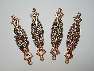Copper Plated Brass Drops Earring Findings Victorian Connectors 4