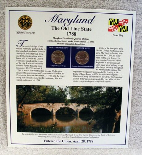 2000 Maryland State Quarter  P /& D Mint Postal Commemorative Society Statehood