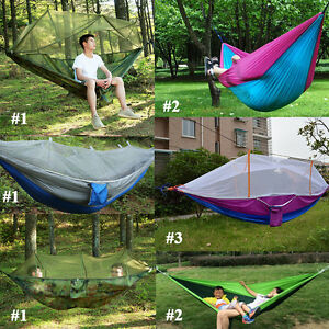 Double Person Outdoor Travel Camping Tent Hanging Hammock With Mosquito Net UK