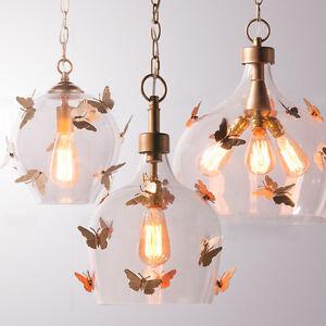 Retro Butterfly Glass Pendant Lamp Restaurant Ceiling Light ...